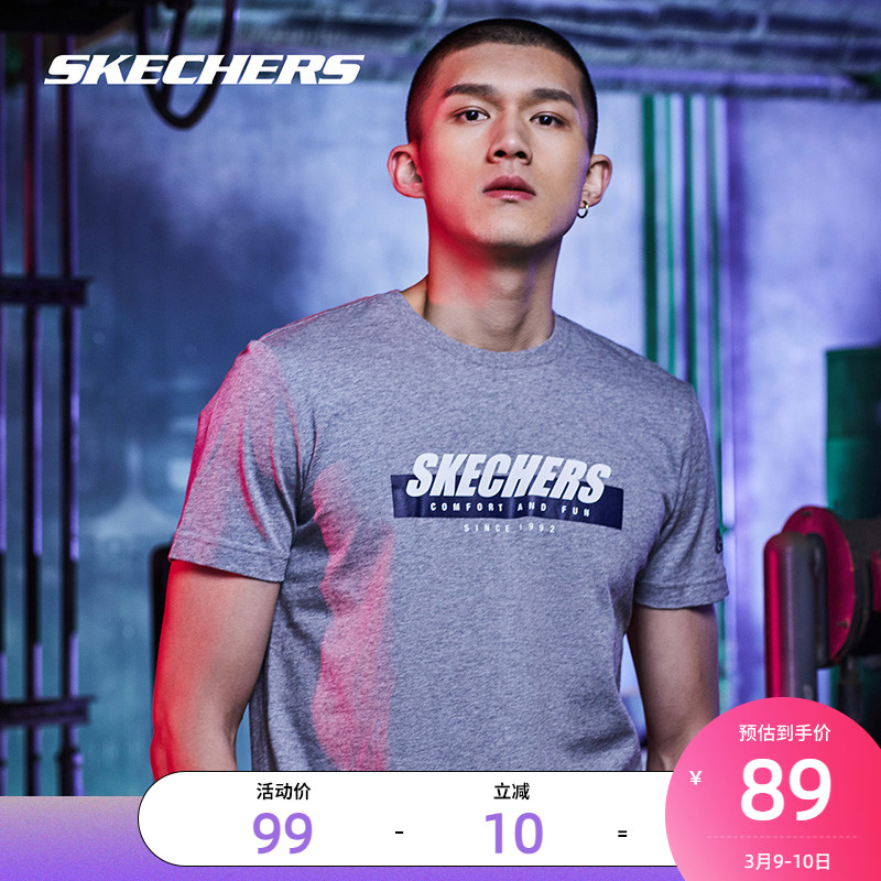 Skechers Sketch Mens Summers new loose-print half-sleeve casual sportswear top short-sleeved t-shirt