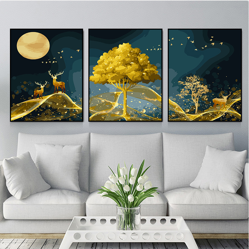Digital Oil Painting Diy Oil Painting Triple Painting Manual Decompression Painting Living Room Landscape Decoration Painting