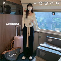 Drawstring sweatpants womens spring and autumn high-waisted loose straight casual pants lazy walking and hanging mopping floor wide leg pants