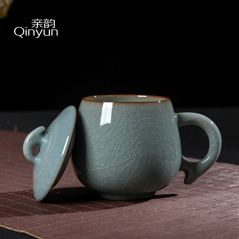 Pro-Yun Qing porcelain office water cup ice crack kung fu cup ceramic household personal tea cup with a lid cup muffle