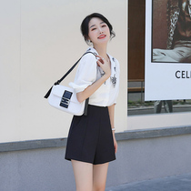 Shorts womens summer loose 2020 new black high-waisted suit show thin outside wearing a-word net red chiffon wide-legged white.