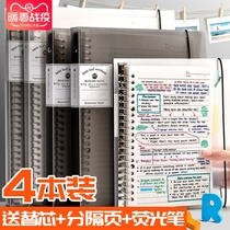 Loose leaf book a4 notebook removable buckle a5 super thick Cornell B5 horizontal line with a ring metal iron clip paging shell students simple college students paper grid for core coil of the removable