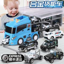 Childrens toy car boy alloy Engineering fire police Card big truck set container model Boy car