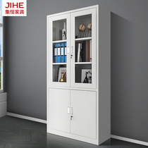 Large equipment filing cabinet iron cabinet glass to open glass data Cabinet Office material cabinet financial filing cabinet