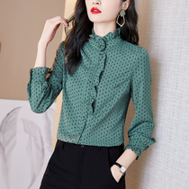 2021 autumn and winter New Fashion Korean version of long-sleeved shirt ladies temperament Joker base shirt inside with foreign color small shirt