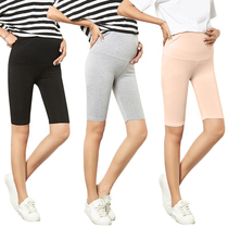 Maternity leggings summer thin shorts modal stretch slim five pants black anti-light safety pants