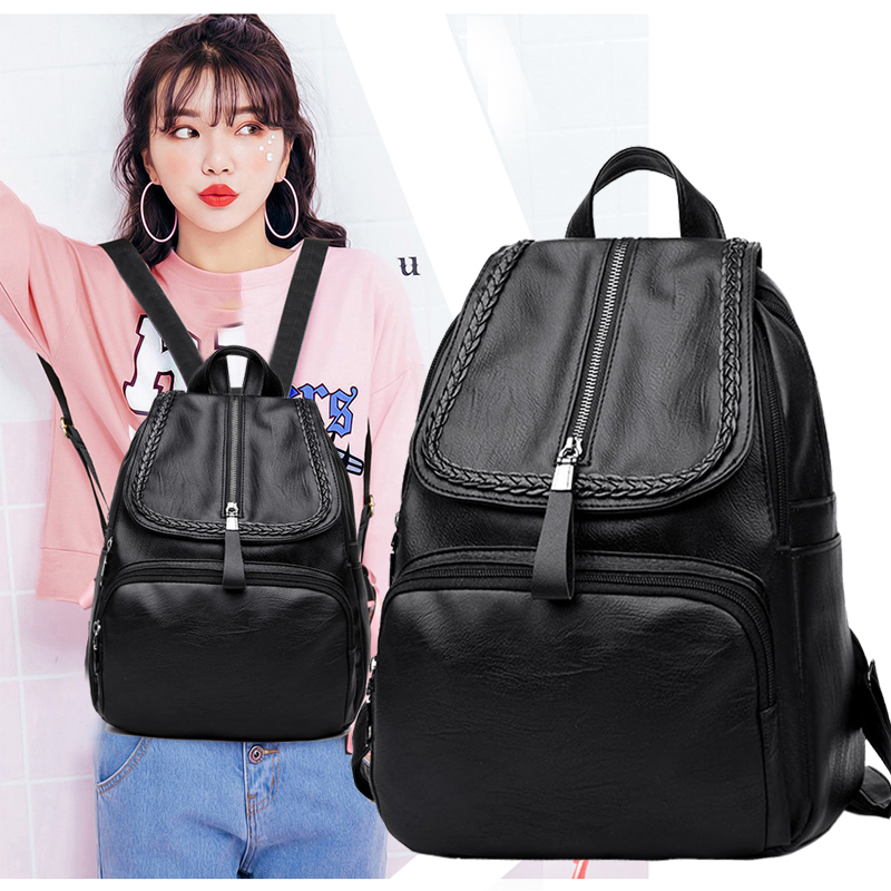 Backpack Ms. 2018 New Korean version of the wild tide backpack bag soft leather casual handbag travel large capacity book