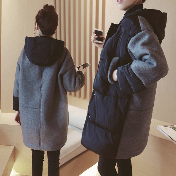 Pregnant womens cotton clothing plus thick winter cotton wool womens Korean version of loose autumn and winter coat large size down cotton clothing late pregnancy