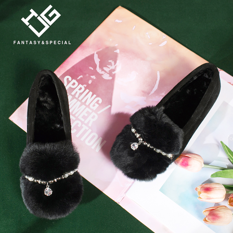 IGU Europe station 2018 autumn light luxury rhinestone rabbit hair fashion shoes fur shoes a pedal comfortable lazy shoes