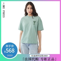 AMI SS21 short-sleeved womens cotton big love embroidery round neck T-shirt men and women wild star couple with the same paragraph