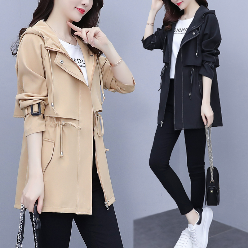 Large size womens windbreaker spring reduced age yang gas 2021 new spring and autumn casual top fat mm spring coat tide