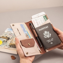 Abroad special@retro pure leather ultra-soft minimalist lettering passport ticket phone leather wallet