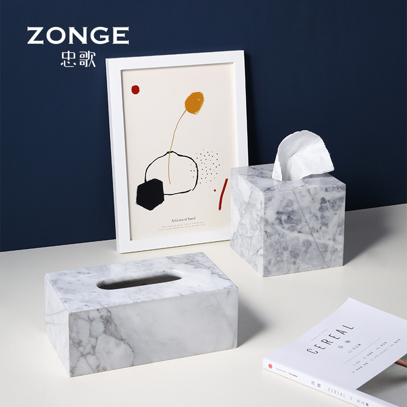 Zhongge Lightweight and Luxurious Marble Paper Towel Box Modern Living Room Tea Table Arrangement Desktop Creative Receiving Napkin Box