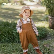 YOUGE молодые песни детские брюки весна и осень маленькие дети детские брюки мальчики девочки большие PP брюки вельвет длинные брюки