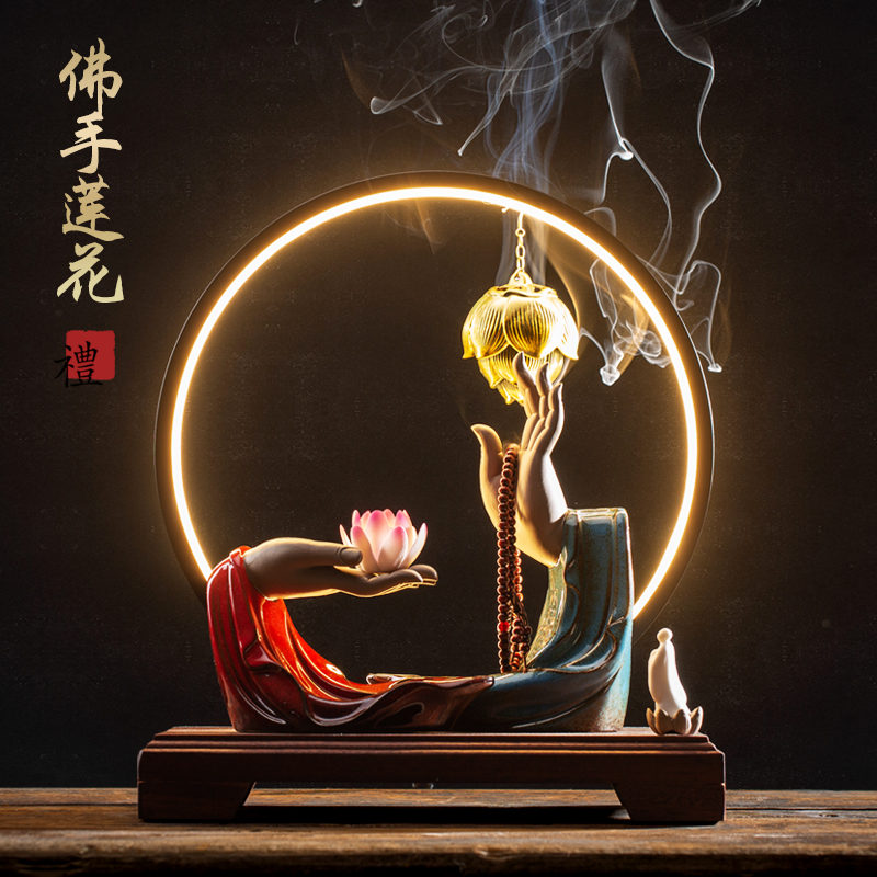 Ask the Buddha incense oven reflow ceramic antique large ornamental smoke table Zen ornaments home Xuanguan lotus incense oven