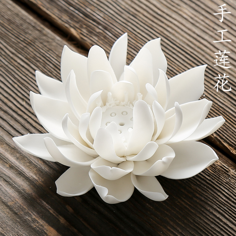 Rock head pure handmade ceramic lotus white pink yellow art home with Bogu rack root carving pieces