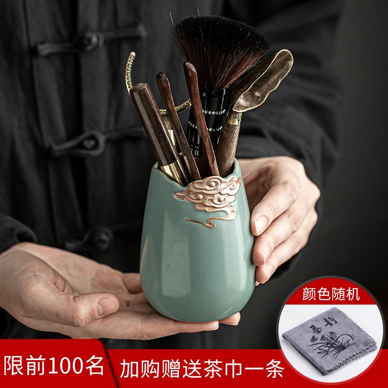 Ebony solid wood tea ceremony six gentleman set kung fu tea set accessories 6 gentleman big full tea tool tea clip spoon knife