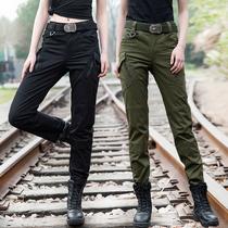 Taille haute Salopette Femmes Printemps stretch droite Maigre militaire fans tactique forces spéciales militaire uniforme pantalon armée vert Long Pantalon
