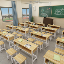 Students desks and chairs school classroom training desk remedial classes remedial classes single double triple writing desk double