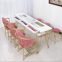 Japanese light luxury single nail table Simple double double net red nail table Marble nail table and chair set