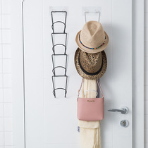Simple door behind the hat to collect artifacts creative multi-purpose rack hanging hat hook home black clothing rack