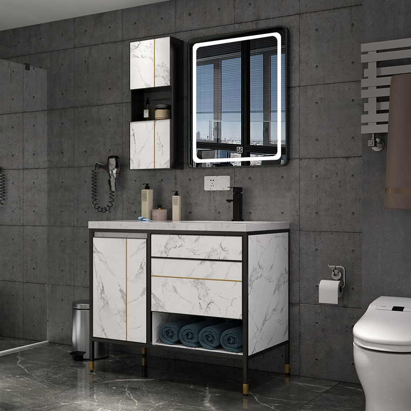 Light luxury intelligent bathroom cabinet Nordic wash basin cabinet combination floor type modern simple toilet washing table