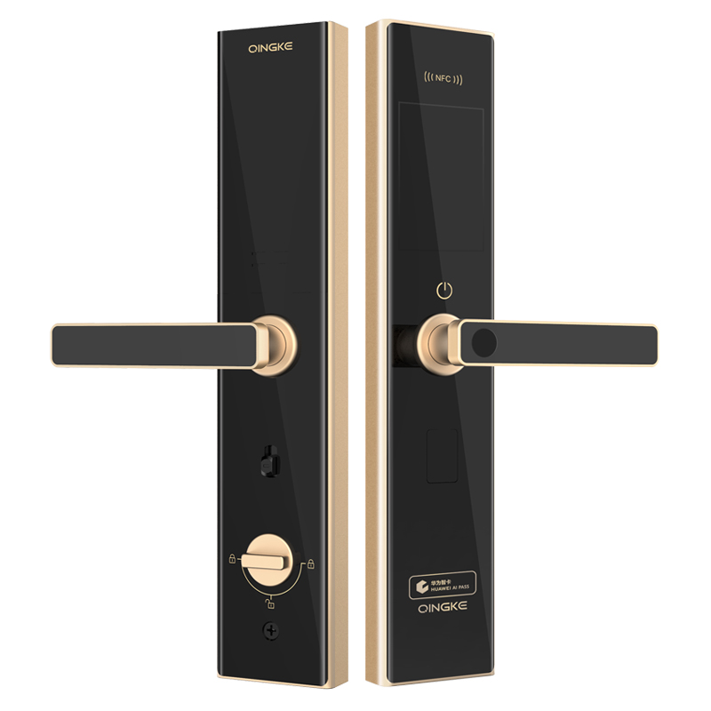 Green Q7 double door with decorative lock panel to open the door with lock panel