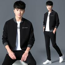 Size Li quiet sports suit mens spring new baseball collar casual wear three-piece set 2020 new mens guard