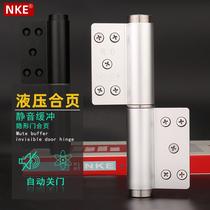 NKE stealth door hinge hydraulic buffer mute slot-free aluminum steel door dark door automatic closed hydraulic hinge