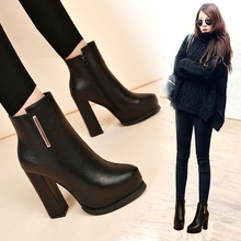 New Winter High-heeled Women's Naked Boots with Fleece Martin Boots Female Booties
