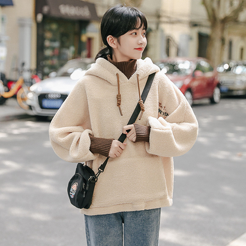 I.Tchooiate lamb hair hooded sweatshirt with velvet plus thick loose Korean version of autumn winter vacation two-piece jacket tide