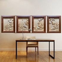 Zhou Xianrong wood carving sketch background wall hand carved four screens spring summer autumn and winter flowers and birds hand fixed 42*52cm