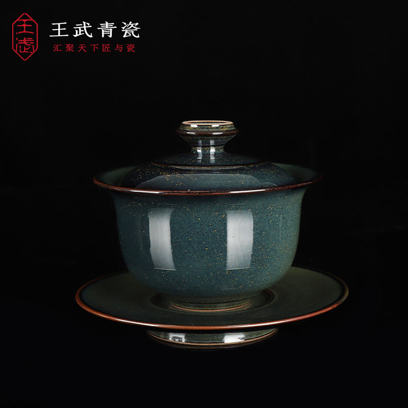 Longquan Wang Wuqing porcelain three only to cover a bowl of tea cup large ceramic kung fu tea set hand-made tea bowl home single