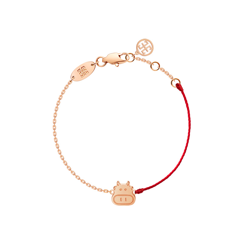 The year of the bulls life red rope cows feet female belongs to the cow zodiac cow transport foot rope calf gift jewelry闢 evil titanium steel