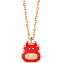The year of the cow transfer zodiac cow necklace female collarbone chain ins titanium steel plated 18K rose gold color gold tide red