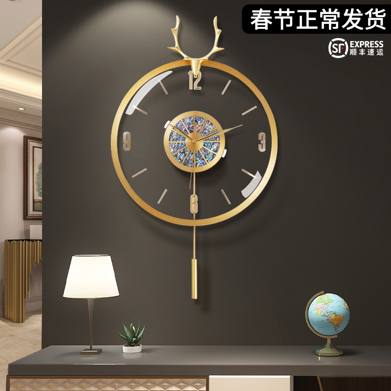 Nordic modern light luxury hanging clock deer head creative clock 錶 personality simple wall watch fashion home living room clock atmosphere
