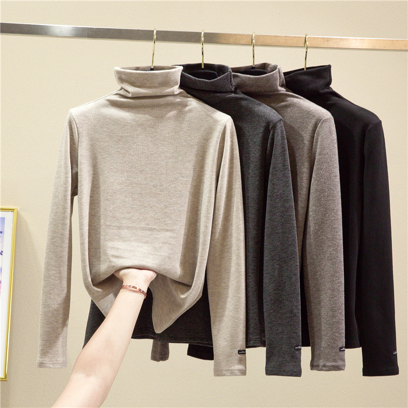 Double-sided grinding cashmere plus thick high-necked bottoms women in autumn and winter with high-necked plus-down slim body hundred warm clothes