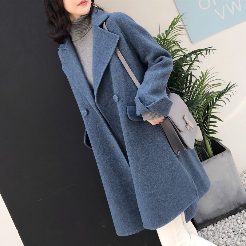 Live room 2021 new double-sided coat womens long fashion Korean version of the popular high-end wool coat thickened