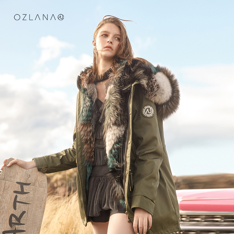 Ozlanas new autumn winter 2020 fur pie overcomes the young fur-all-in-one womens coat