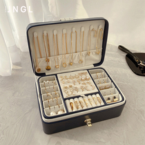 Large capacity multi-layer jewelry box European high-end luxury earrings Stud earrings necklace ring jewelry display storage box