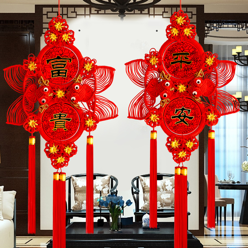 Red-coded Chinese knotted pendant living room large TV wall on both sides of the sofa background wall on both sides of the red bedroom entrance