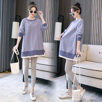 Maternity suit blouse T-shirt fashion loose striped bottoming shirt long sleeve spring female maternity dress spring autumn