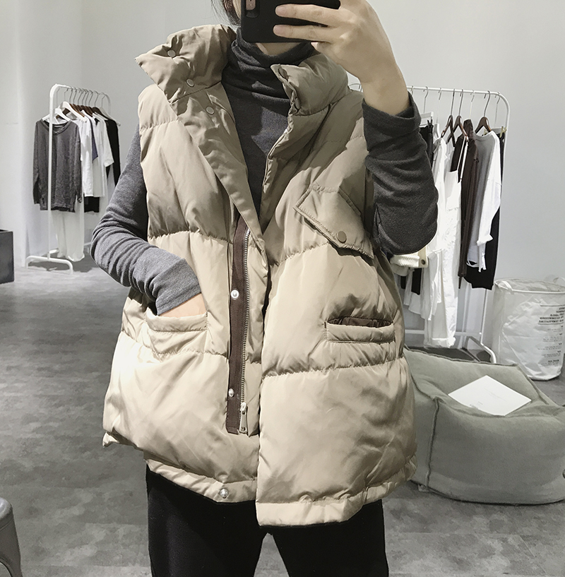 Down cotton vest womens short autumn and winter new Korean version of casual fashion 100 sleeveless vest thickened horse clip jacket