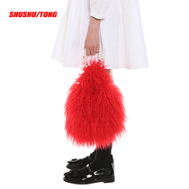 SHUSHU TONG simple red enamel pearl handle hand plush eco-friendly fur bag portable female bag tide