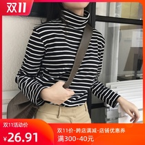 High-necked striped T-shirt womens long-sleeved loose autumn and winter Korean version of the top pure cotton hundred plus-down sweater womens inner tie