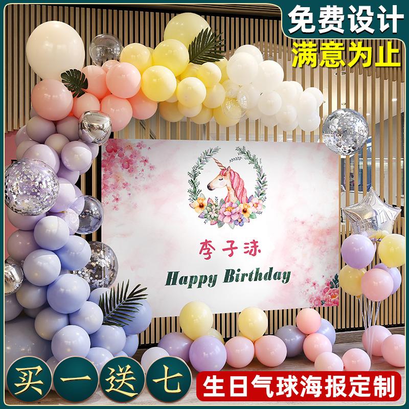 Première affiche d'ensemble d'anniversaire de bébé scène de banquet de 100 jours décorée avec des ballons enfants fille maison masculine de mur de fond