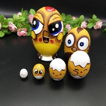 Selling Russian dolls 6 layers egg-shaped cute cartoon chicken baby pure hand-painted high-grade home furnishings