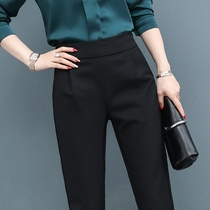 Black pants women spring and autumn 2021 new suit pants straight tube loose high waist thin Haren pants casual trousers