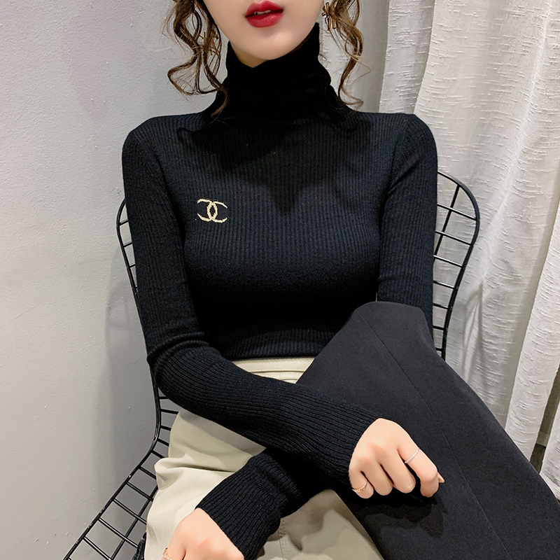 High-necked bottoms for womens autumn winter pais with the new 2020 long-sleeved slim black sweater sweater top