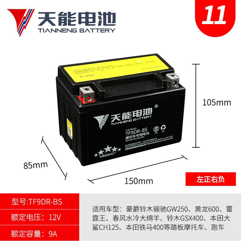 Motorcycle battery YTX9-BS Huanglong 600 300 Guangyang 250 Benali GW25012V universal dry battery